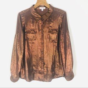 Calvin Klein copper metallic shirt button down 90s